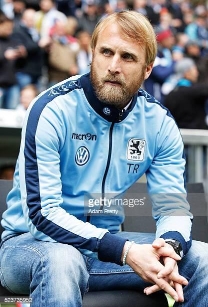 Daniel Bierofka head coach of TSV 1860 Munich during the 2 Bundesliga match between 1860 Muenchen and Eintracht Braunschweig at Allianz Arena on...