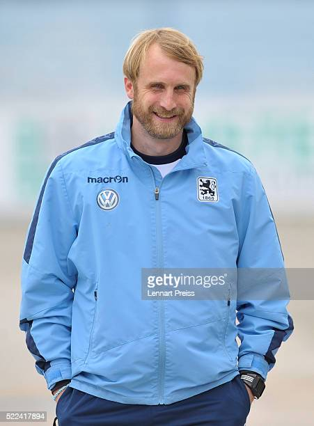 Daniel Bierofka new head coach of 1860 Muenchen leaves a press conference ahead of a training session of TSV 1860 Muenchen on April 19 2016 in Munich...