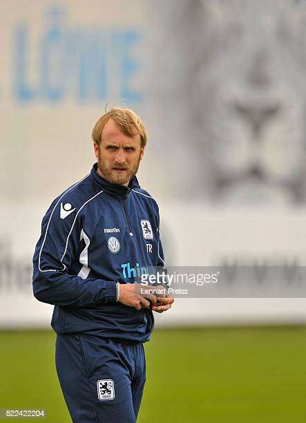 Daniel Bierofka new head coach of 1860 Muenchen looks during a training session of TSV 1860 Muenchen on April 19 2016 in Munich Germany