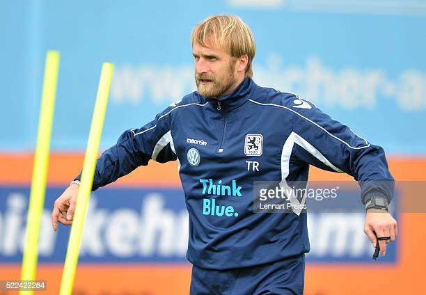 Daniel Bierofka new head coach of 1860 Muenchen reacts during a training session of TSV 1860 Muenchen on April 19 2016 in Munich Germany