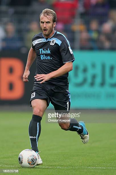 Daniel Bierofka of Muenchen runs with the ball during the Second Bundesliga match between VfR Aalen and 1860 Muenchen at ScholzArena on September 13...