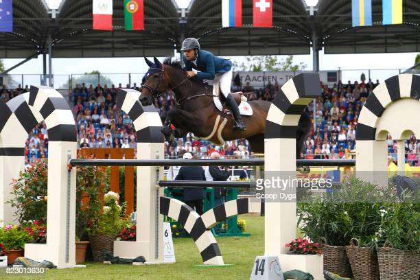 Daniel BLUMAN riding SANCHA LS during the Rolex Grand Prix part of the Rolex Grand Slam of Show Jumping of the World Equestrian Festival on July 23...