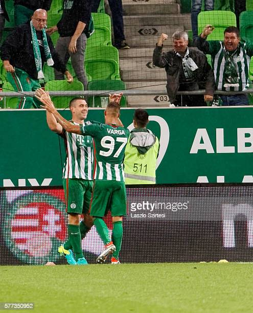 Daniel Bode of Ferencvarosi TC celebrates scoring his team's goal with Roland Varga of Ferencvarosi TC during the Hungarian OTP Bank Liga match...