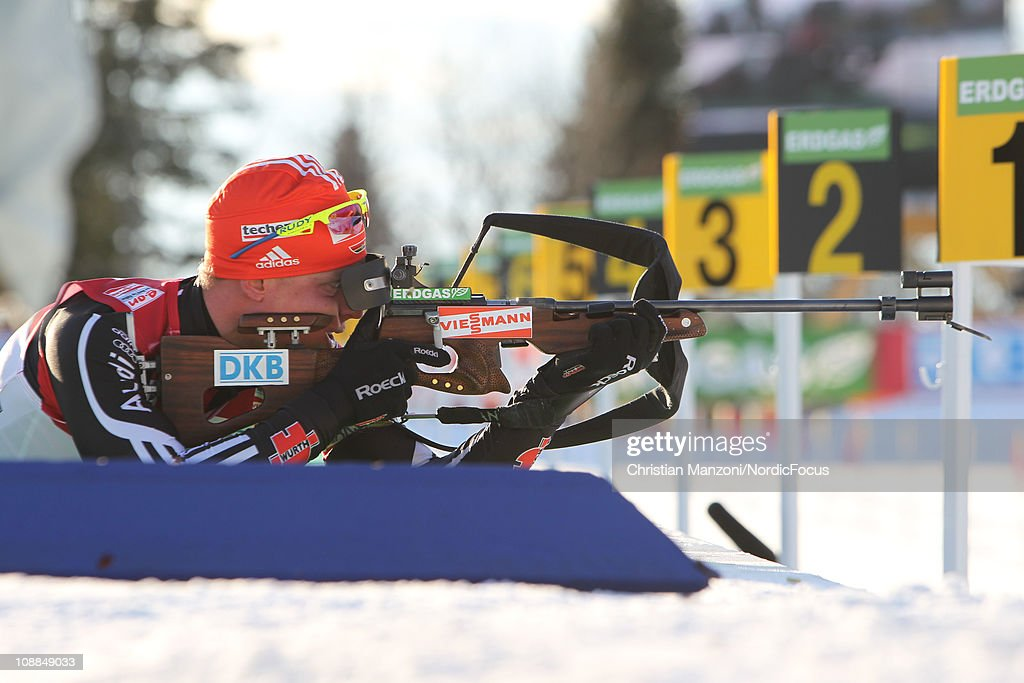 <a gi-track='captionPersonalityLinkClicked' href=/galleries/search?phrase=Daniel+Boehm&family=editorial&specificpeople=4595949 ng-click='$event.stopPropagation()'>Daniel Boehm</a> of Germany competes in the mixed relay during the E.ON IBU Biathlon World Cup on February 5, 2011 in Presque Isle, Maine.