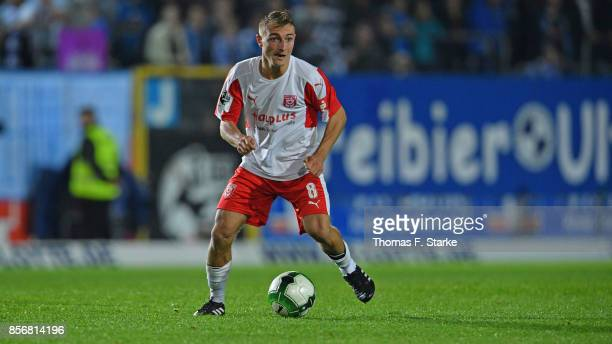 Daniel Bohl of Halle runs with the ball during the 3 Liga match between Sportfreunde Lotte and Hallescher FC at Frimo Stadium on September 29 2017 in...