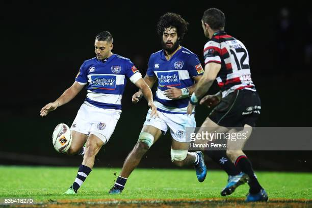 Daniel Bowden of Auckland kicks the ball through during the round one Mitre 10 Cup match between Counties Manukau and Auckland at ECOLight Stadium on...