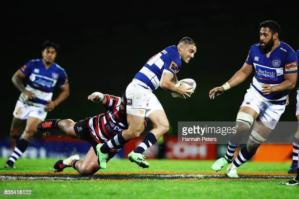 Daniel Bowden of Auckland makes a break during the round one Mitre 10 Cup match between Counties Manukau and Auckland at ECOLight Stadium on August...