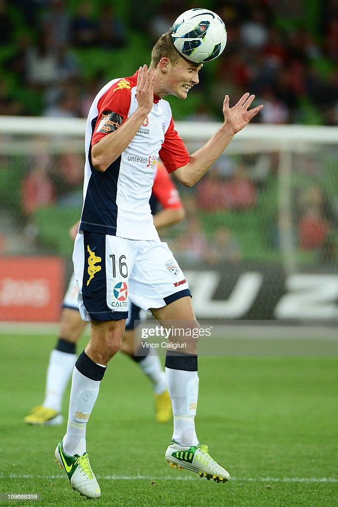 Daniel Bowles heads the ball during the round seventeen A-League match between Melbourne Heart and Adelaide United at AAMI Park on January 18, 2013 in Melbourne, Australia.