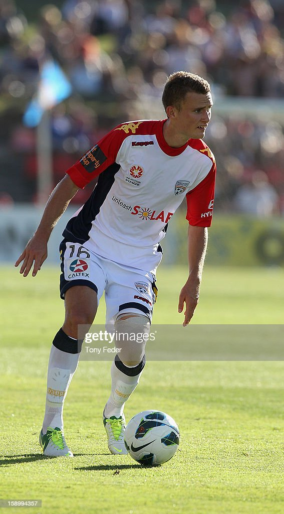 Daniel Bowles of Adelaide in action during the round 15 A-League match between the Newcastle Jets and Adelaide United at Hunter Stadium on January 5, 2013 in Newcastle, Australia.