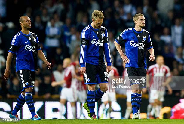 Daniel Braaten Nicolai Jorgensen and Thomas Kristensen of FC Copenhagen look dejected after AaB Aalborg's fourth goal in the DBU Pokalen Cup Final...