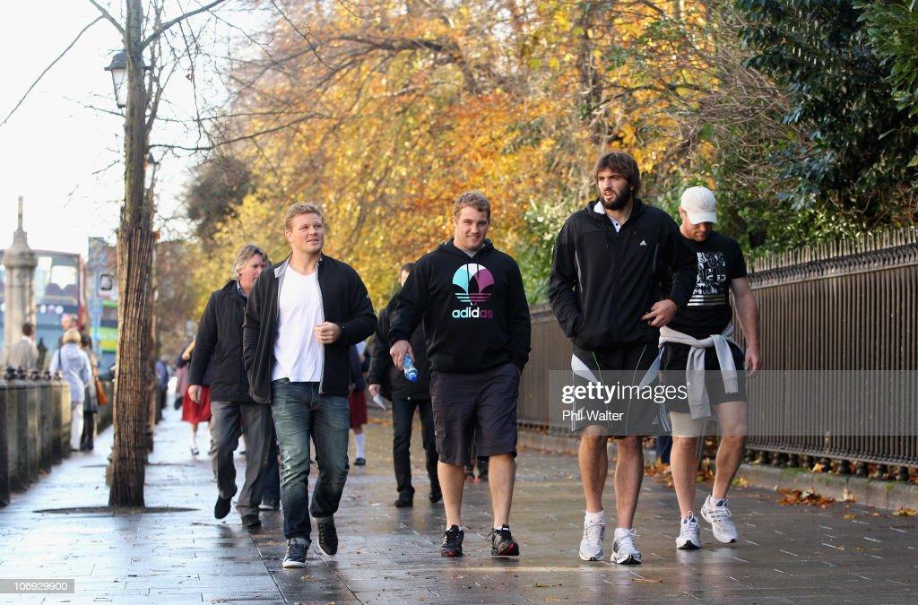 Daniel Braid Owen Franks Sam Whitelock and Brad Thorn of the New Zealand All Blacks take a walk around the St Stephens Green shopping area on...