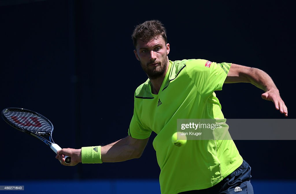 <a gi-track='captionPersonalityLinkClicked' href=/galleries/search?phrase=Daniel+Brands&family=editorial&specificpeople=4273085 ng-click='$event.stopPropagation()'>Daniel Brands</a> of Germany during a qualifying match ahead of the AEGON Championships at Queens Club on June 8, 2014 in London, England.