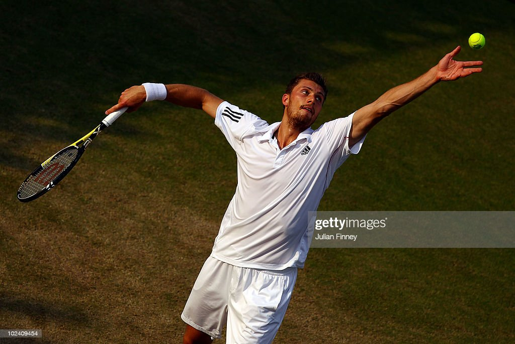 Daniel Brands of Germany in action during his match against Victor Hanescu of Romania on Day Five of the Wimbledon Lawn Tennis Championships at the...