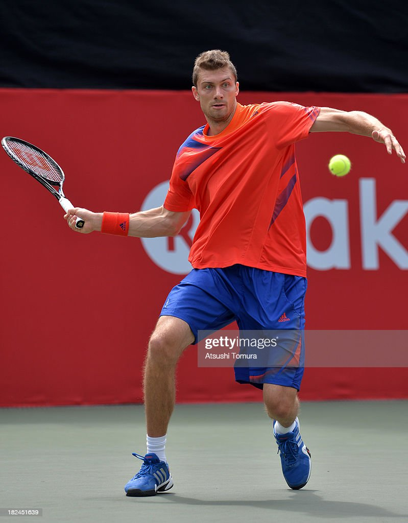 Daniel Brands of Germany in action during his men's first round match against Alexandr Dolgopolov of Ukrine during day one of the Rakuten Open at...