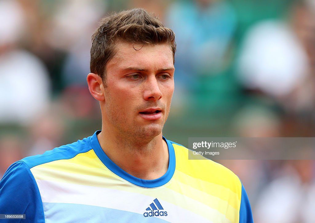 Daniel Brands of Germany looks on in his Men's Singles match against Rafael Nadal of Spain during day two of the French Open at Roland Garros on May...