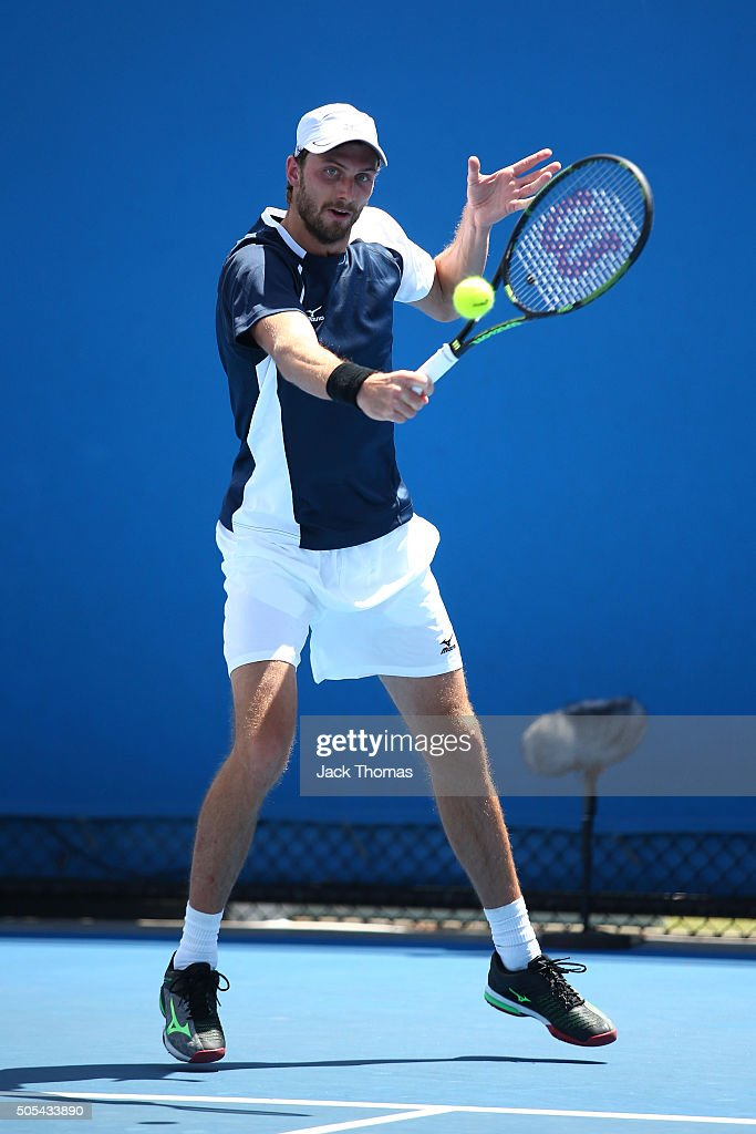 Daniel Brands of Germany plays a backhand in his first round match against Victor Estrella Burgos of Dominican Republic during day one of the 2016...