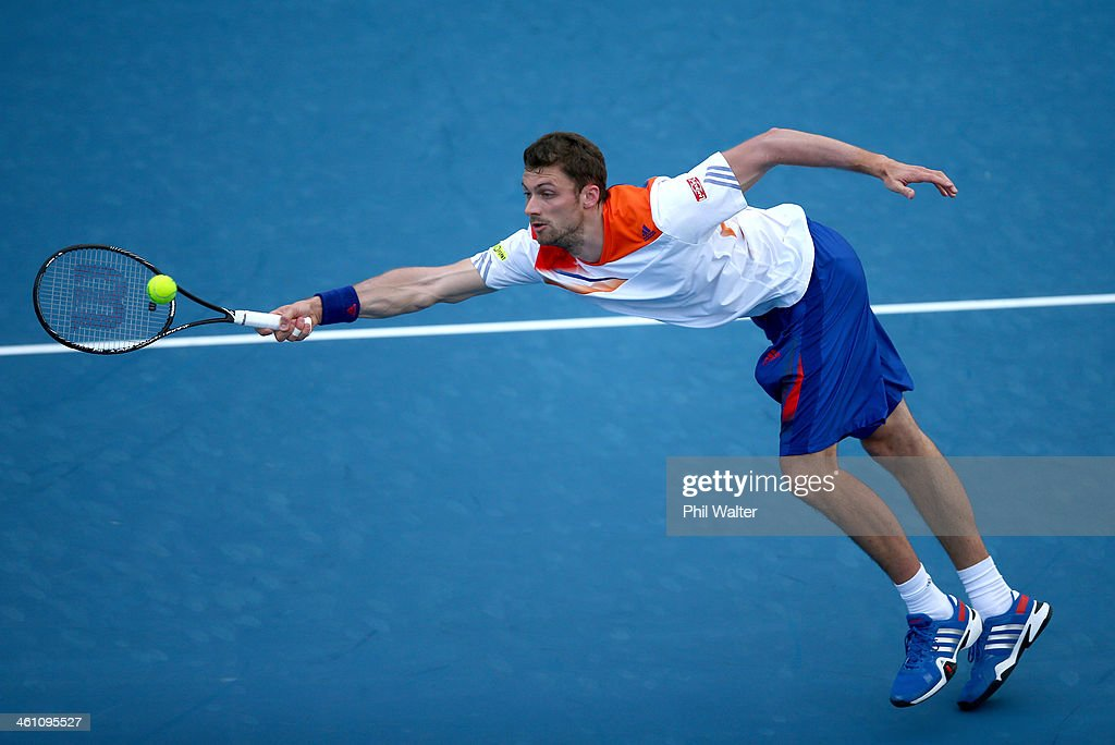<a gi-track='captionPersonalityLinkClicked' href=/galleries/search?phrase=Daniel+Brands&family=editorial&specificpeople=4273085 ng-click='$event.stopPropagation()'>Daniel Brands</a> of Germany plays a forehand during his first round match against Bradley Klahn of the USA on day two of the Heineken Open at the ASB Tennis Centre on January 7, 2014 in Auckland, New Zealand.