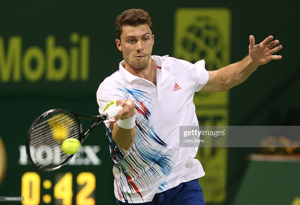 <a gi-track='captionPersonalityLinkClicked' href=/galleries/search?phrase=Daniel+Brands&family=editorial&specificpeople=4273085 ng-click='$event.stopPropagation()'>Daniel Brands</a> of Germany plays a forehand during his semi-final against Richard Gasquet of France in day five of the Qatar Open 2013 at the Khalifa International Tennis and Squash Complex on January 4, 2013 in Doha, Qatar.