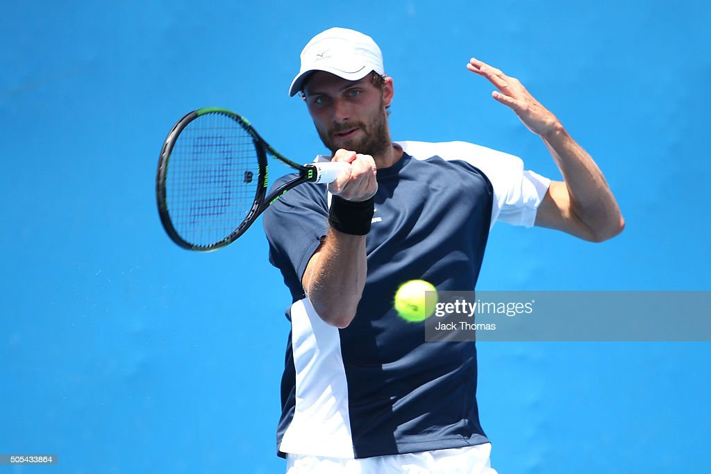 Daniel Brands of Germany plays a forehand in his first round match against Victor Estrella Burgos of Dominican Republic during day one of the 2016...