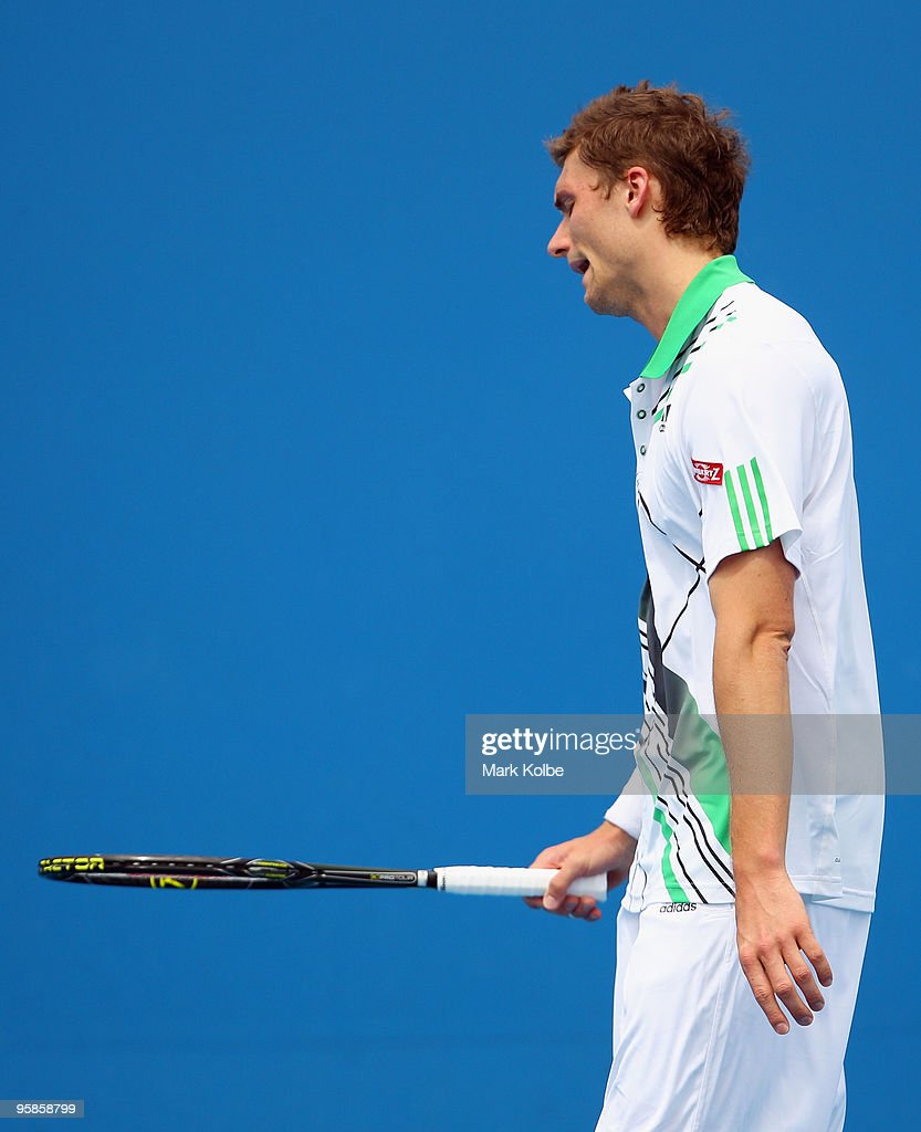 Daniel Brands of Great Britain reacts after a point in his first round match against Evgeny Korolev of Kazakhstan during day two of the 2010...