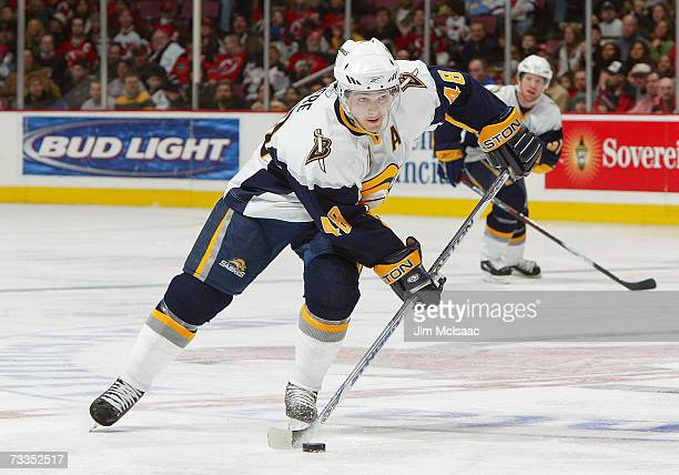 Daniel Briere of the Buffalo Sabres skates the puck through neutral ice against the New Jersey Devils during their game on February 3 2007 at...