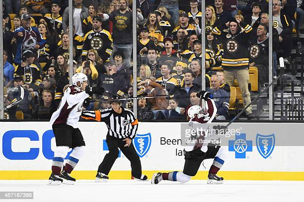 Daniel Briere of the Colorado Avalanche scores a goal at the end of the third period against the Boston Bruins at the TD Garden on October 13 2014 in...