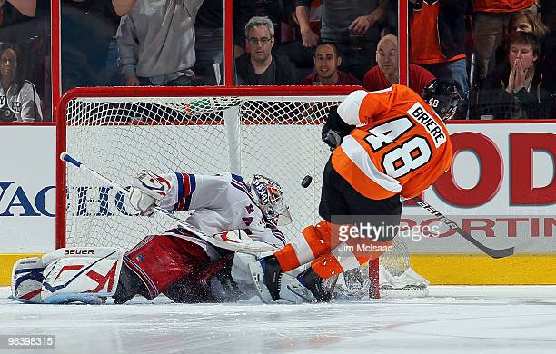 Daniel Briere of the Philadelphia Flyers scores a shootout goal past Henrik Lundqvist of the New York Rangers on April 11 2010 at Wachovia Center in...