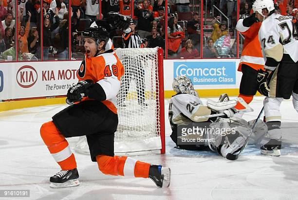 Daniel Briere of the Philadelphia Flyers scores at 1037 of the second period against MarcAndre Fleury of the Pittsburgh Penguins at the Wachovia...