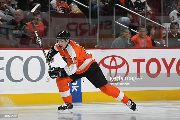 Daniel Briere of the Philadelphia Flyers skates during the game against the Pittsburgh Penguins at the Wachovia Center on October 8 2009 in...