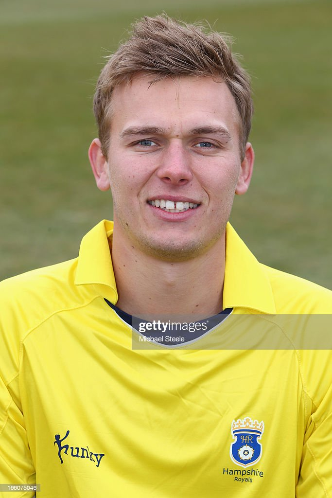 Daniel Briggs of Hampshire wearing the Yorkshire Bank 40 Over kit during the Hampshire CCC photocall at The Ageus Bowl on April 8, 2013 in Southampton, England.