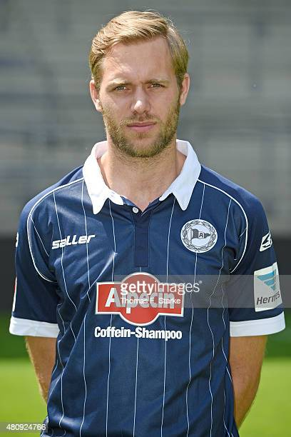 Daniel Brinkmann poses during the Second Bundesliga team presentation of Arminia Bielefeld at Schueco Arena on July 16 2015 in Bielefeld Germany