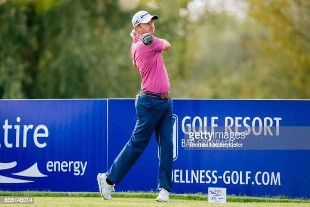 Daniel Brooks of England is seen during day one of the Saltire Energy Paul Lawrie Matchplay at Golf Resort Bad Griesbach on August 17 2017 in Passau...
