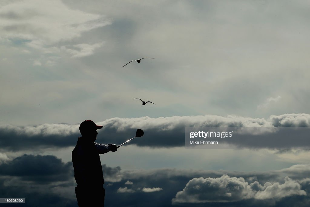 Daniel Brooks of England reacts to his tee shot on the tenth hole during the final round of the Aberdeen Asset Management Scottish Open at Gullane...
