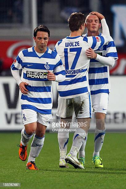 Daniel Brosinski celebrates the second goal with Kevin Wolze of Duisburg during the Second Bundesliga match between MSV Duisburg and Eintracht...