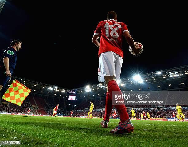 Daniel Brosinski of 1 FSV Mainz 05 during the Bundesliga match between 1 FSV Mainz 05 and TSG 1899 Hoffenheim at Coface Arena on September 26 2014 in...