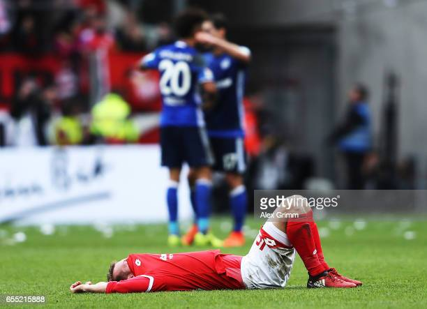 Daniel Brosinski of FSV Mainz 05 is dejected after losing the Bundesliga match between 1 FSV Mainz 05 and FC Schalke 04 at Opel Arena on March 19...