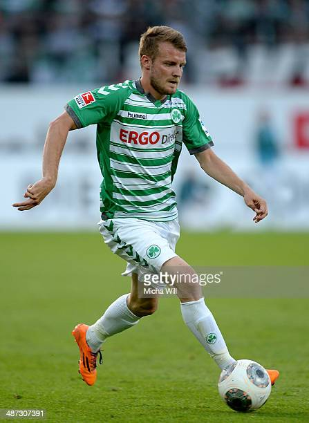 Daniel Brosinski of Fuerth controls the ball during the Second Bundesliga match between Greuther Fuerth and 1860 Muenchen at TrolliArena on April 25...