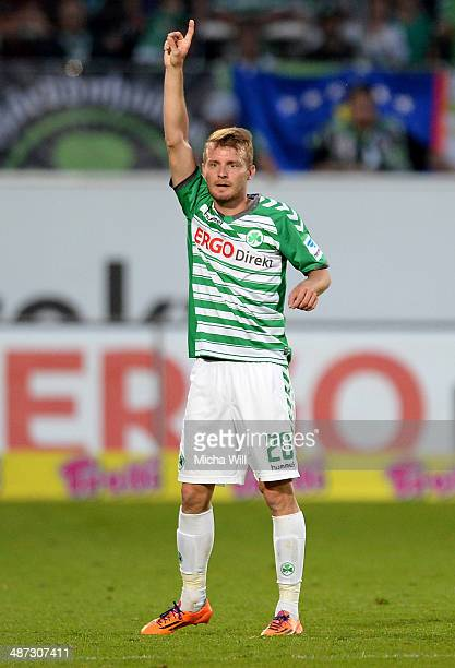 Daniel Brosinski of Fuerth gestures during the Second Bundesliga match between Greuther Fuerth and 1860 Muenchen at TrolliArena on April 25 2014 in...