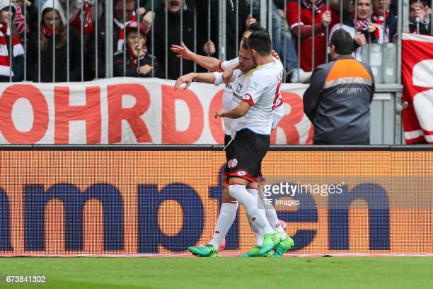 Daniel Brosinski of Mainz celebrates after scoring his team`s second goal during the Bundesliga match between Bayern Muenchen and 1 FSV Mainz 05 at...