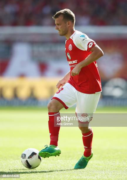 Daniel Brosinski of Mainz controles the ball during the Bundesliga match between 1 FSV Mainz 05 and Eintracht Frankfurt at Opel Arena on May 13 2017...