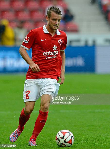 Daniel Brosinski of Mainz controls the ball during the Bundesliga match between 1 FSV Mainz 05 and Hannover 96 at Coface Arena on August 31 2014 in...