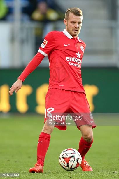 Daniel Brosinski of Mainz controls the ball during the Bundesliga match between 1899 Hoffenheim and 1 FSV Mainz 05 at Wirsol RheinNeckarArena on...