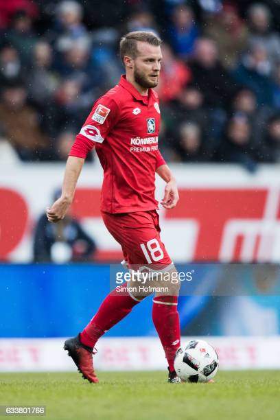 Daniel Brosinski of Mainz controls the ball during the Bundesliga match between TSG 1899 Hoffenheim and 1 FSV Mainz 05 at Wirsol RheinNeckarArena on...