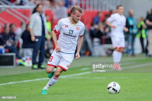 Daniel Brosinski of Mainz controls the ball during the Bundesliga match between FC Ingolstadt 04 and 1 FSV Mainz 05 at Audi Sportpark on April 2 2017...