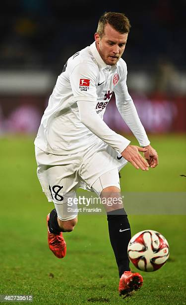 Daniel Brosinski of Mainz in action during the Bunsliga match between Hannover 96 and 1 FSV Mainz 05 at HDIArena on February 3 2015 in Hanover Germany