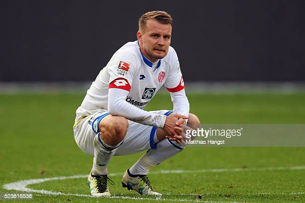 Daniel Brosinski of Mainz reacts after the Bundesliga match between Eintracht Frankfurt and 1 FSV Mainz 05 at CommerzbankArena on April 24 2016 in...