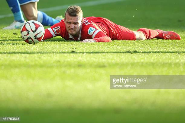 Daniel Brosinski of Mainz reacts during the Bundesliga match between 1899 Hoffenheim and 1 FSV Mainz 05 at Wirsol RheinNeckarArena on February 28...