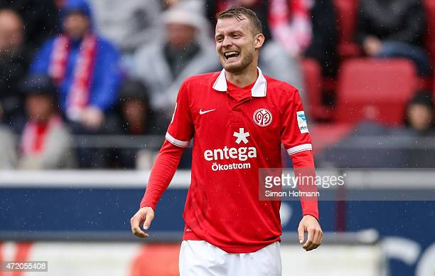 Daniel Brosinski of Mainz reacts during the the Bundesliga match between 1 FSV Mainz 05 and Hamburger SV at Coface Arena on May 3 2015 in Mainz...