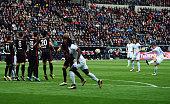 Daniel Brosinski of Mainz scores his team's first goal with a freekick during the Bundesliga match between Eintracht Frankfurt and 1 FSV Mainz 05 at...