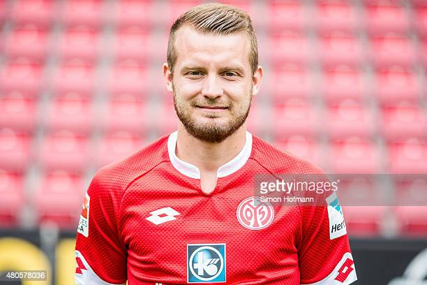 Daniel Brosinski poses during the 1 FSV Mainz 05 Team Presentation at Coface Arena on July 12 2015 in Mainz Germany